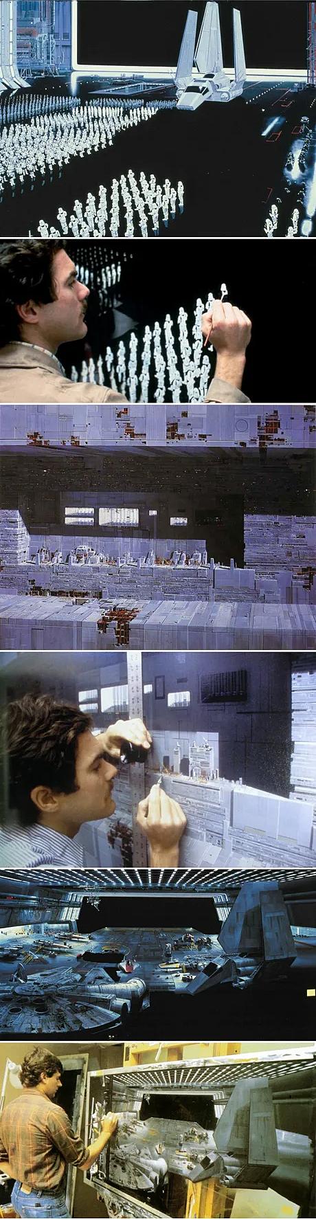 Star Wars'un ilk filmlerinde görsel efekt yerine geçen sahneler