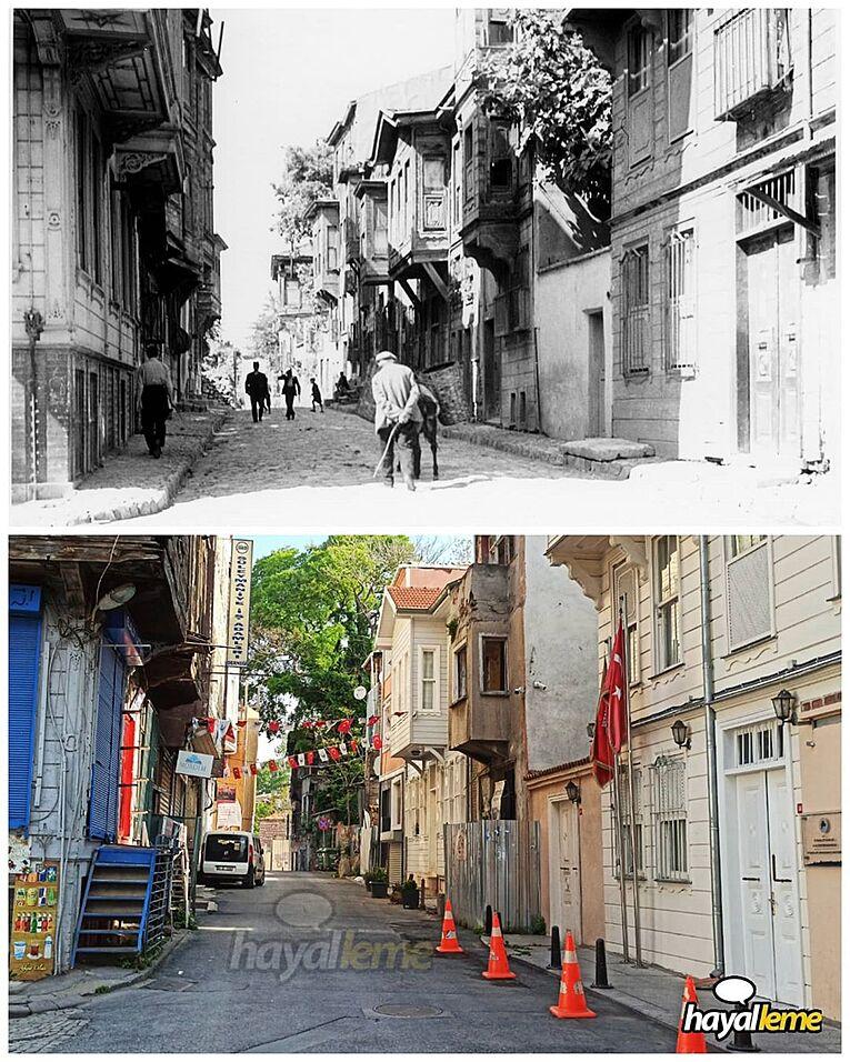 Süleymaniye Kirazlı Mescit Sokağı 1930 ve bugün