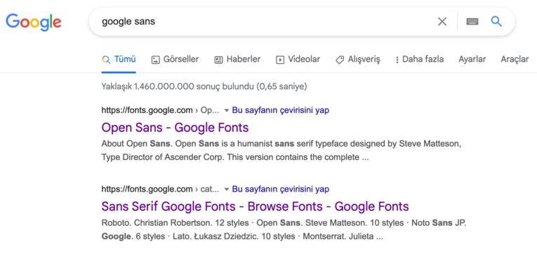 Google search için yeni font GOOGLE SANS